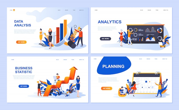 データ分析、分析、ビジネス統計、計画のためのランディングページテンプレートのセット