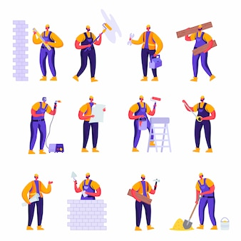 平らなプロの建設労働者エンジニア文字のセット
