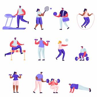 Набор плоских профессиональных спортивных персонажей
