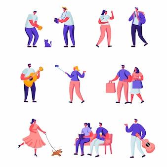 Набор плоских уличных музыкантов и пешеходов