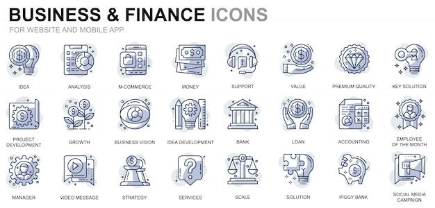 ウェブサイトおよびモバイルアプリのシンプルなセットビジネスおよび金融行アイコン