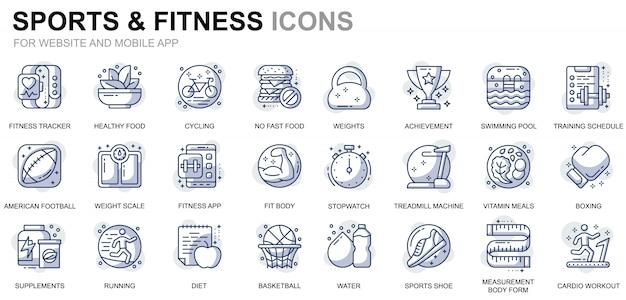 ウェブサイトおよびモバイルアプリ用のシンプルなセットスポーツおよびフィットネスラインアイコン