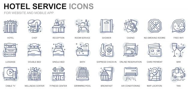ウェブサイトとモバイルアプリのシンプルなセットホテルサービスラインアイコン