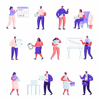 Набор плоских людей офисных работников персонажей.