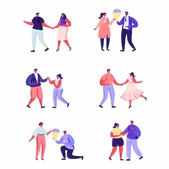 Набор плоских людей на романтическое свидание персонажей.