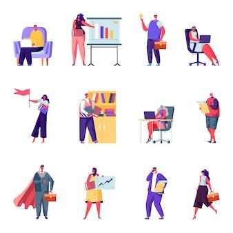 フラットビジネスオフィスの人々のキャラクターのセット