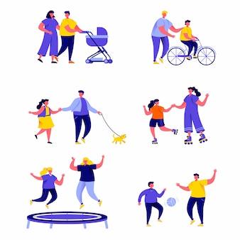 Набор плоских людей семейного активного отдыха персонажей