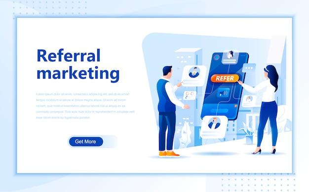 Шаблон целевой страницы плоского реферального маркетинга домашней страницы