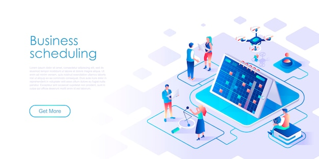 Шаблон бизнес-планирования изометрической целевой страницы