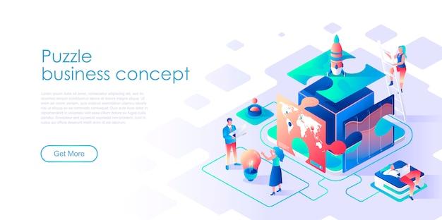 Шаблон бизнес-головоломки изометрической целевой страницы