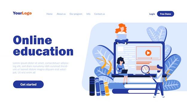 ヘッダー付きオンライン教育ベクトルランディングページ