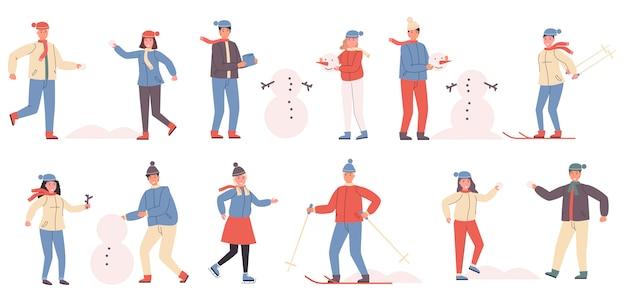 冬のスポーツとレクリエーションのフラットセット
