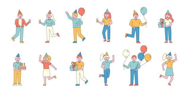 パーティーゲストフラットチャーターセット。お祝いイベントで風船を持つうれしそうな人々。