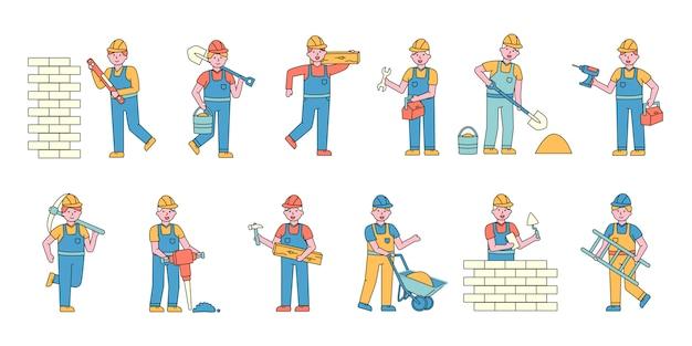 ビルダーフラットチャーターセット。建設現場で働く人々。