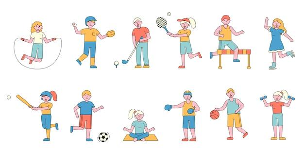 スポーツマンフラットチャーラーセット。スポーツをしている人々。
