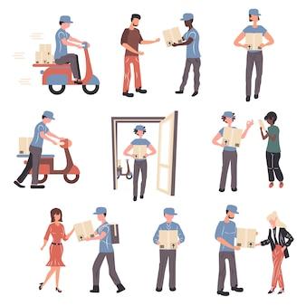 Почтовые отделения работников и клиентов набор символов.
