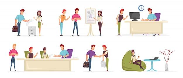 ビジネス人々、オフィスワーカーの漫画のキャラクターセット。