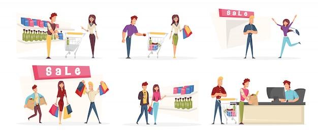 Люди ходят по магазинам набор персонажей мультфильма.