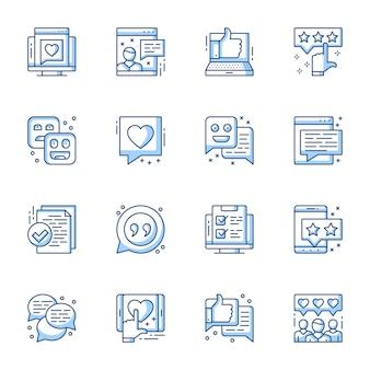 Обзор, набор линейных векторных иконок удовлетворенности пользователей.