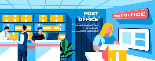 郵便局フラットランディングページテンプレートバナーレイアウト。