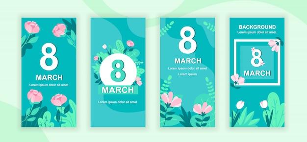 Набор шаблонов рассказов в социальных сетях к международному женскому дню