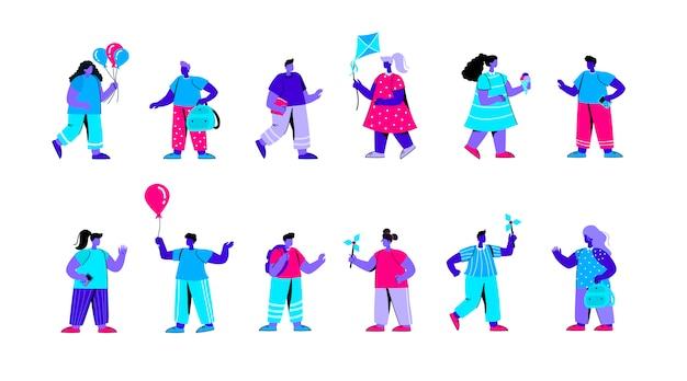 風車で遊ぶ幼稚園児のセットフラットブルー人キャラクター