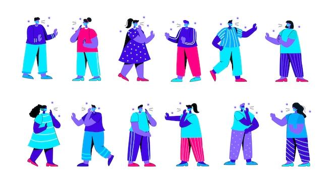 Набор чихающих и кашляющих людей, носящих медицинские маски плоских синих людей персонажа