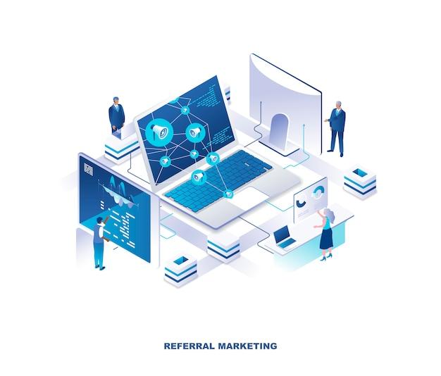 Реферальный маркетинг, изометрическая концепция программы лояльности клиентов