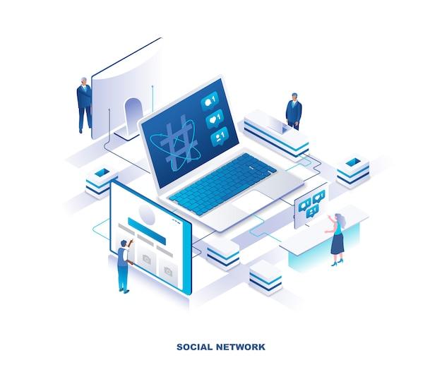 Социальные медиа или сеть изометрической концепции