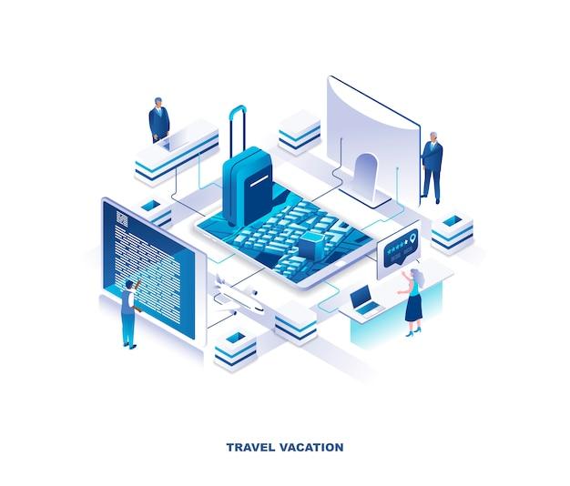 Туристический сервис для планирования путешествий, бронирования изометрической концепции