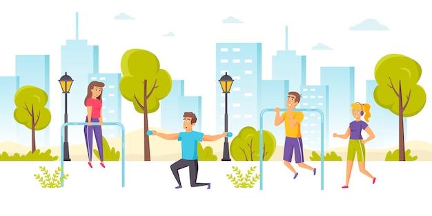 Счастливые мужчины и женщины бегают трусцой или бегают, выполняя подтягивания