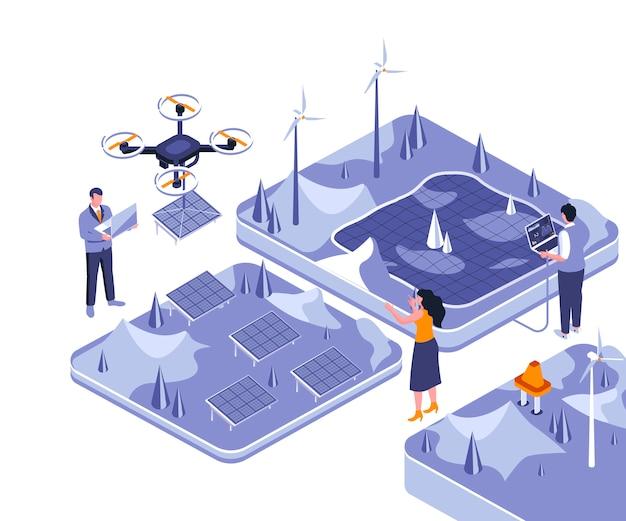 再生可能エネルギーのアイソメ図