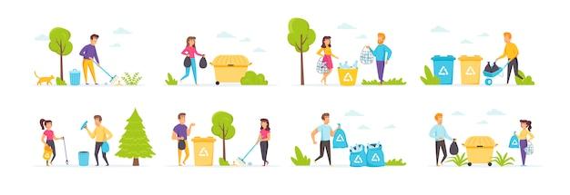 Сборка мусора с участием людей персонажей в различных сценах и ситуациях.