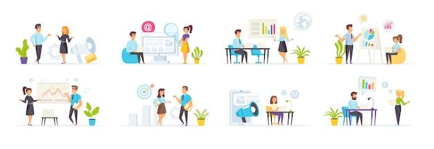 Маркетинговую стратегию устанавливают с людьми персонажи в различных сценах и ситуациях.
