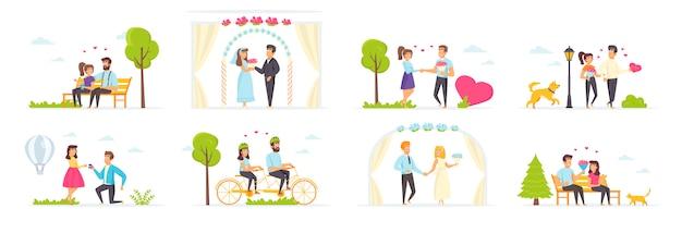 Пара в любви установить с людьми персонажей в различных сценах и ситуациях.