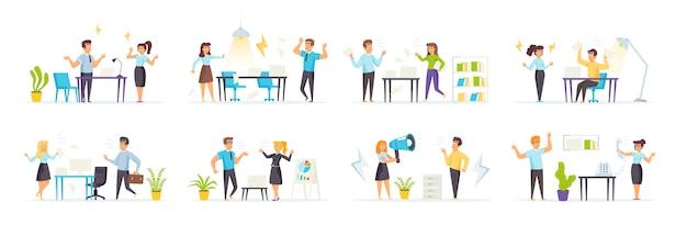 Ссоры на работе устраивают с разгневанными людьми персонажи в разных сценах и ситуациях.