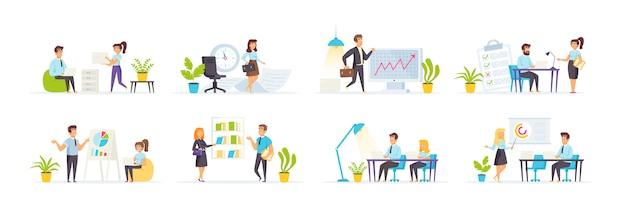 Управление офисом с участием людей персонажей в различных сценах и ситуациях.
