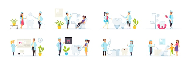 Стоматологическая клиника с участием людей персонажей в различных сценах и ситуациях.