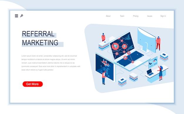 Шаблон изометрической целевой страницы реферального маркетинга.