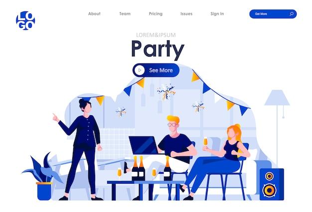 Домашняя вечеринка плоская целевая страница дизайн веб-шаблона