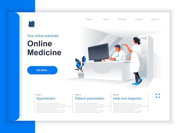 オンライン医学等尺性ランディングページ。医者はオフィスの状況でコンピューターを操作します。患者の診断と治療、臨床検査、診察予定の視点フラットデザイン。