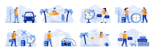 Сюжеты путешествий отпуск с людьми персонажей. туристы, путешествующие на машине или самолете, пара с багажом, серфер с досками для серфинга. летние каникулы и активность плоской иллюстрации