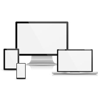 Коллекция реалистичного векторного ноутбука, планшетного компьютера, монитора и мобильного телефона
