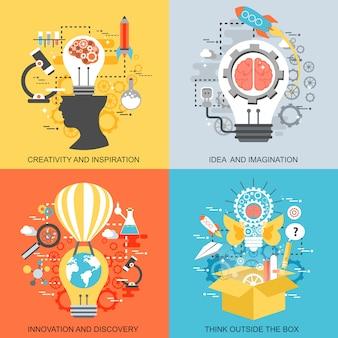 Плоские концептуальные иконки набор творчества и вдохновения, идеи и воображения.