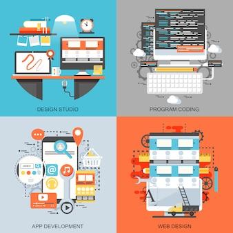 フラットな概念アイコン創造的なオフィスワークスペースアートスタジオ、プログラムコーディングのセット。