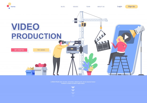 Видео производство плоской целевой страницы шаблона. оператор с видеокамерой, делающей фильм в ситуации студии. веб-страница с людьми персонажей. иллюстрация индустрии производства видеоконтента
