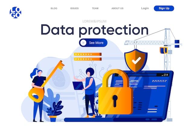 Защита данных плоской целевой страницы. консультация специалиста по кибербезопасности с иллюстрацией клиента. система защиты данных, конфиденциальность информации, составление веб-страницы с персонажами