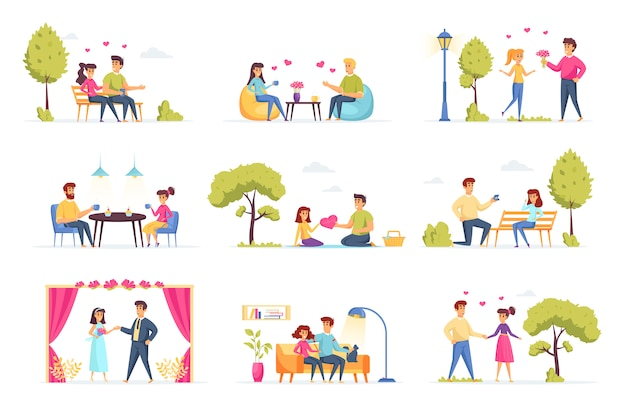 愛のカップルのコレクションの人々のキャラクター
