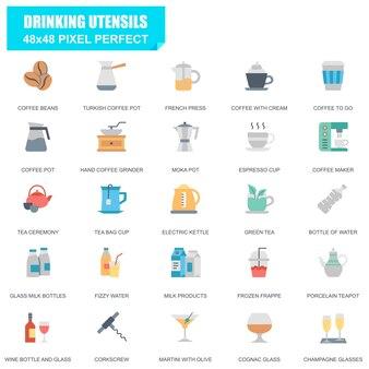 シンプルな飲み物のセット関連ベクトルフラットアイコン