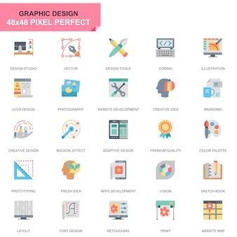 Простой набор веб-и графического дизайна плоские иконки